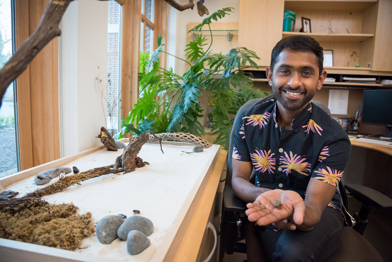 A male employee shows off the tabletop Zen garden in his office. It is a long, shallow tray filled with white sand. Several stones and pieces of driftwood are set into the sand. He is reaching toward the camera, holding a small rock and smiling.