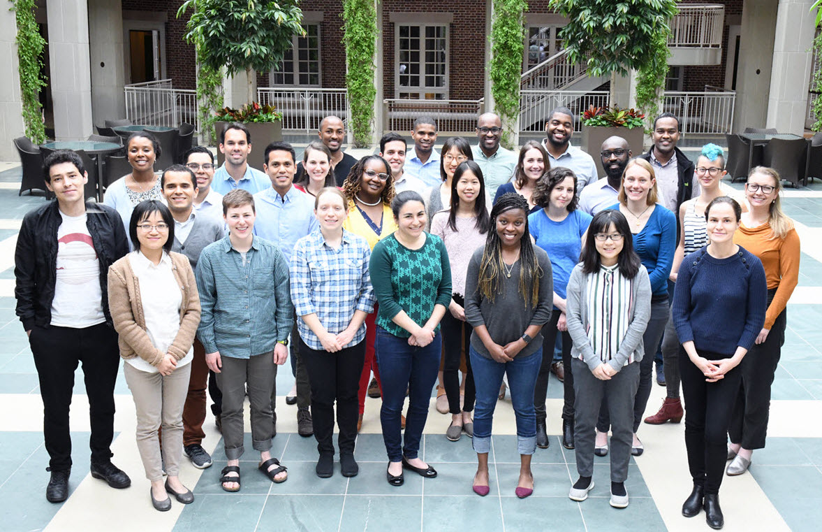 Hanna Gray Fellows at HHMI Headquarters during the Hanna Gray Fellows Retreat 2019