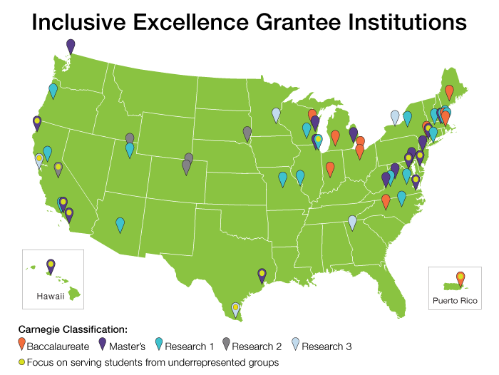 HHMI Inclusive Excellence 2018 Institutions Map