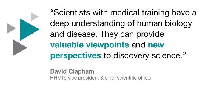 """Scientists with medical training have a deep understanding of human biology and disease. They can provide valuable viewpoints and new perspectives to discovery science."" David Clapham, HHMI's vice president and chief scientific officer"